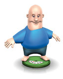 Fat man on scales Stock Photography