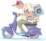 Fat Man on the Scooter. The fat bald-headed man with the boombox is riding the scooter Stock Images