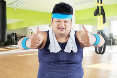 Fat man showing thumbs up Stock Photography