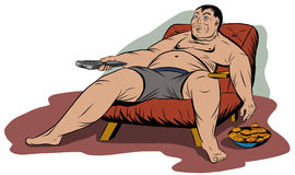 Fat man sitting in a chair, holding a TV remote control Royalty Free Stock Photos