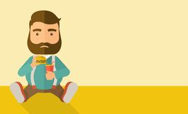 Fat man sitting while eating Royalty Free Stock Image