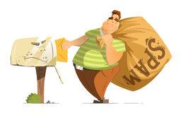 Fat man spammer with a big sack of spam mails. Fat man spammer with big sack of spam sending putting a mail in old mailbox Royalty Free Stock Image