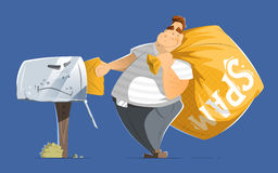 Fat man spammer with a big sack of spam mails. Fat man spammer with big sack of spam sending putting a mail in old mailbox Royalty Free Stock Images