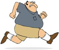 Fat man sprinting. This illustration depicts a chubby man in shorts running while looking behind him Royalty Free Stock Photos