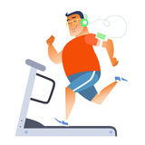 Fat man on a stationary treadmill. Listening to music on the player royalty free illustration