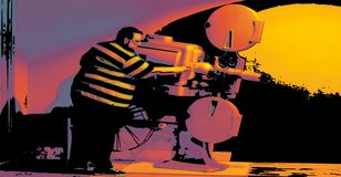 A fat man in a striped shirt is about to project an old film in a suburban cinema vector illustration