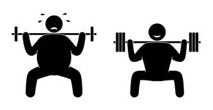 Fat man and strong sportsman fitness training. Body building. Healthy training. Fat man and strong sportsman fitness training. Gym cardio strength exercise Stock Photography