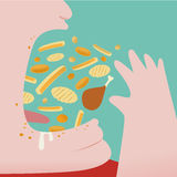 Fat Man Throw a lot of food in to his mouth Royalty Free Stock Image