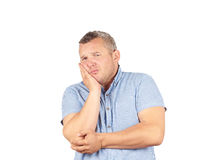 Fat man with a toothache. Royalty Free Stock Images