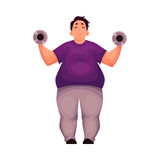 Fat man training with dumbbells, doing weightlifting exercises Stock Photography