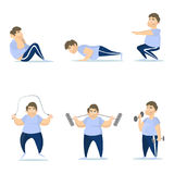 Fat man training. Fat man training set on white background. Jumping, squats and push ups Royalty Free Stock Photography