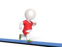 Fat man on treadmill. 3D little overweight man running on treadmill Stock Images