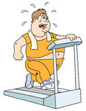 Fat man and  treadmill Stock Image