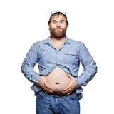 Fat man with tummy on a white background Royalty Free Stock Images