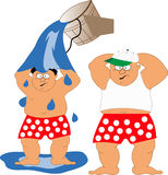 Fat man. Two fat men in red polka-dot shorts and cap and white t-shirt Stock Photography