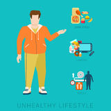 Fat man unhealthy lifestyle vector infographic: diet, sport Stock Images