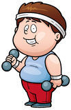 Fat man. Vector illustration of Cartoon Fat man holding dumbbells Royalty Free Stock Image