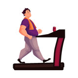 Fat man walking on the treadmill cartoon vector illustration. Fat man walking on the treadmill, cartoon vector illustration isolated on white background. Obese Stock Image