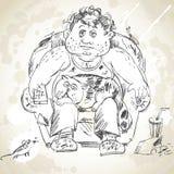 Fat man watching TV Royalty Free Stock Photos