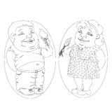 Fat man and woman eating ice cream and carrots. White and black picture Royalty Free Stock Photography