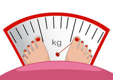 Fat man or woman standing on weight scale with heavy weight, vec Stock Photography