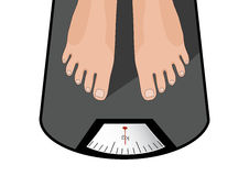 Fat man or woman standing on weight scale with heavy weight Royalty Free Stock Photography