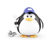 Fat mechanic penguin Royalty Free Stock Images