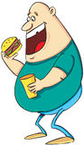 Fat men eating burger. Vector illustration of a fat men eating burger and soda Royalty Free Stock Photo