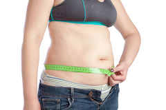 Fat middle-aged woman measuring her waist. Stock Photos