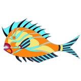Fat monster fish vector illustration