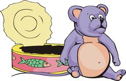 Fat mouse & can cartoon Stock Photography