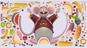 Fat mouse rat is rest spreading paws. 2020 on Chinese calendar symbol rich wealth abundance. Vector cartoon illustration isolated on white stock illustration