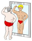 Fat muscle man. A fat man who sees himself differently in the mirror Stock Photo