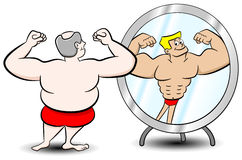 Fat muscle man. Vector illustration of a fat man who sees himself differently in the mirror Stock Photo
