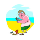 Fat nerd on the beach. Colorful vector illustration of a cartoon fat nerd on the beach, with uneven tan, glasses, socks and sandals. Holding a magazine and Stock Photography