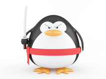 Fat ninja penguin Stock Photo