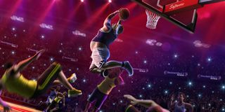 Fat non professional basketball player in action. Fun. Broken ba stock photography