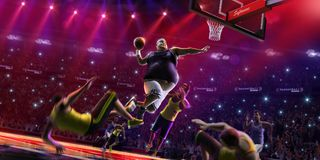 Fat non professional basketball player in action. Fun. Broken ba. Sketball court floor fun picture royalty free stock photography