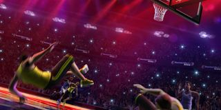 Fat non professional basketball player in action. Fun. Broken ba. Sketball court floor fun picture stock image