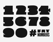 Fat numbers set in black shape. Numbers set, black shape style, numerals typography design element, logo symbols mockup Royalty Free Stock Photography