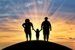 Fat, obese family is standing on a hill. Concept of obesity Royalty Free Stock Photography