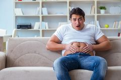 The fat obese man in dieting concept. Fat obese man in dieting concept Stock Photography