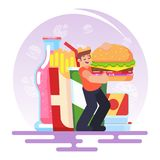 Fat obese man eating fast food, bad habit Vector concept of obesity caused by food addiction. Eps10 Stock Photography