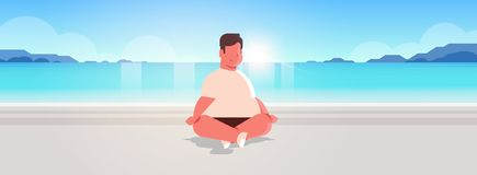 Fat obese man sitting lotus pose on sea beach overweight guy relaxing summer vacation concept seaside ocean beautiful. Landscape background full length royalty free illustration