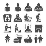 Fat obese people, overweight person vector icons. People overweight and fat, body obesity illustration Royalty Free Stock Images