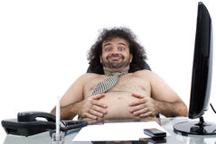 Fat in Office stock images