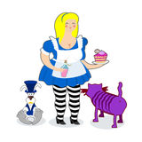 Fat old Alice in Wonderland. Mythical Cheshire cat. White rabbit Stock Photo