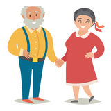 Fat old people. Plus size old people. Happy fat couple, man and women. Flat vector illustration Stock Image