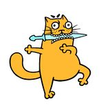 Fat orange cat with a blade in his teeth dances a fighting dance. Vector illustration stock image