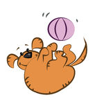 Fat orange dog. Playing with big pink ball in funny pose, humor scene, nose, smile, happy puppy, big and fat - hand drawing, pencil line drawn. Vector Royalty Free Stock Photos